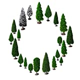OrgMemory Mixed Model Trees with Base, Diorama Models, Model Train Scenery, Architecture Trees, (19pcs, 2-6 inch /5-15 cm), Ho Scale Trees, Miniature Trees with Bases