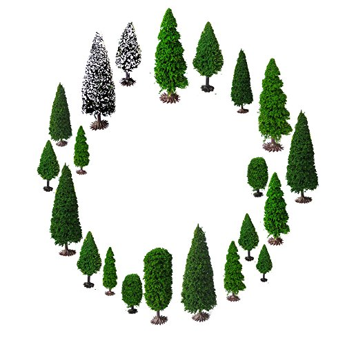 Mixed Model Trees with Base, OrgMemory Diorama Models, Model Train Scenery, Architecture Trees, (19pcs, 2-6 inch /5-15 cm), Ho Scale Trees (Scenery Trains Model)