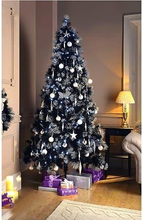 Albero Di Natale Nero.2 13 Meters Albero Di Natale Con Glitter Colore Nero Con Punte Amazon It Casa E Cucina