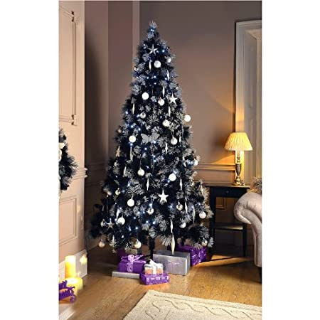 7ft black christmas tree with glitter tips - Black Christmas Tree With Purple Decorations