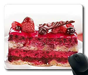Popular Dessert Strawberry Cake In French Beautiful Masterpiece Limited Design Oblong Mouse Pad by Cases & Mousepads