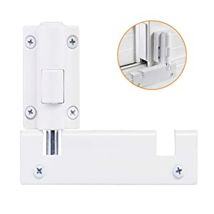 Wintek Patio Sliding Door Security Foot Lock Kick Lock, Fits on Top Rail-Childproof Patio Door Guardian-or Bottom Rail-Foot Operated-Keep Your Family Safe and Secure(1Pack,White)