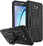Chevron Samsung Galaxy J7 Prime Back Cover Case [Tough Hybrid Armor] with Kickstand (Black)