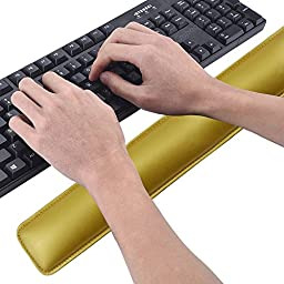 Cmhoo Keyboard Wrist Rest Support Comfortable Cushion Keyboard Pad Wrist Rest with Memory Foam for Laptops/ Notebooks/ Desktop Keyboard (18.3×3.2×1in, Keyboard Wrist Gold)