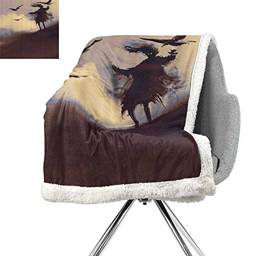 ScottDecor Horror Digital Printing Blanket,Dark Soul from a Scary Movie on The Hills with Clouds and Flying Crows Print,Brown Mauve Begie,Print Summer Quilt Comforter W59xL47 Inch ()