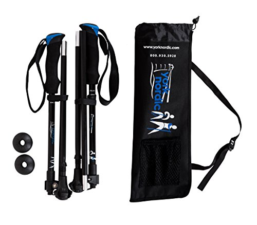 Snow Yukon Street (York Nordic Ultralight Folding Walking Poles - Travel Ready - 8.6 oz each, 15.5 in collapsed, with Rubber Feet, Baskets, and Bag)