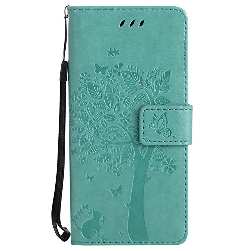 Price comparison product image NOMO Galaxy S8 Case, Samsung S8 Wallet Case, Galaxy S8 Flip Case PU Leather Emboss Tree Cat Flowers Folio Magnetic Kickstand Cover with Card Slots for Samsung Galaxy S8 Teal