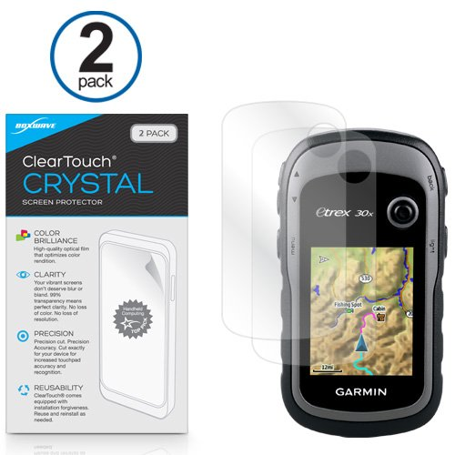 BoxWave Garmin eTrex 30x Screen Protector, [ClearTouch Crystal (2-Pack)] HD Film Skin - Shields From Scratches for Garmin eTrex 30x