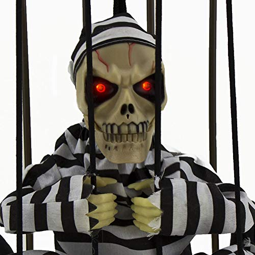 Prisoner Skeleton Halloween Prop (Halloween Skull Decoration,Halloween Motion Sensor Hanging Caged Animated Jail Prisoner Skeleton Terror Decoration Flashing Light up Prop)