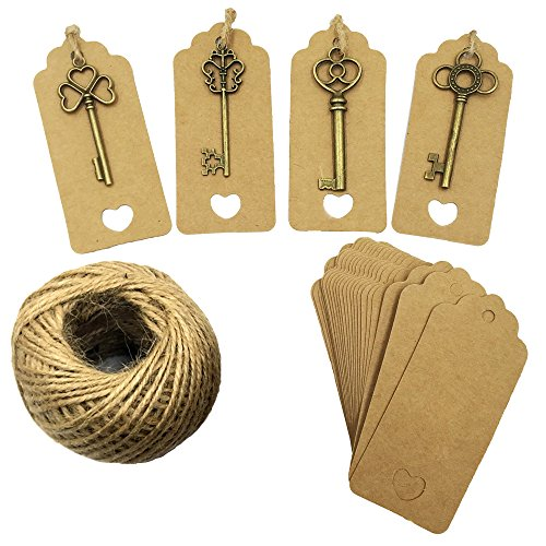 Valentine Key (Mmei Set of 40 Vintage Bronze Skeleton Key Charm with Kraft Paper Gift Tags and 30 Yards Natural Jute Twine for Wedding Decoration Favor DIY Crafts (Mix - Bronze))