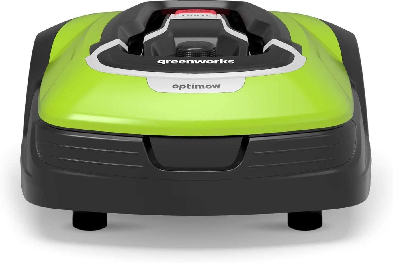 Greenworks Cortador robótico Optimow 15 (batería automática con estación de carga silencioso 1500m2 con App. inteligente GreenGuide,35% inclinación,20-60mm altura corte,70min tiempo siega )