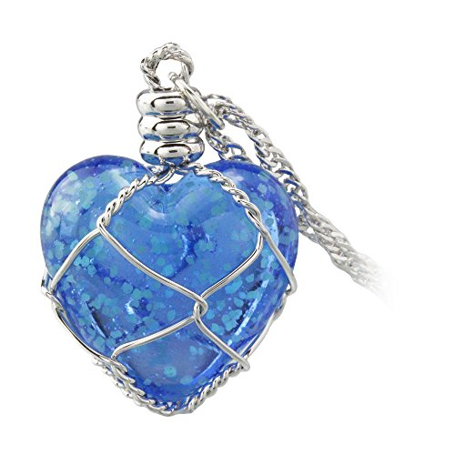 k Blue Heart Pendant Necklace, Glow Green Light GN2001 (Light Green Necklace)