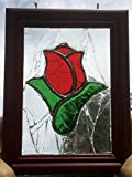 Red Rose Stained Glass Sun catcher Window Art, one of a kind