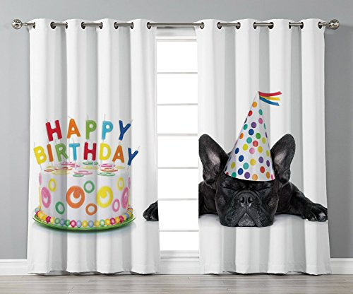 iPrint Stylish Window Curtains,Birthday Decorations for Kids,Sleepy French Bulldog Party Cake with Candles Cone Hat Image,Multicolor,2 Panel Set Window Drapes,for Living Room Bedroom Kitchen Cafe
