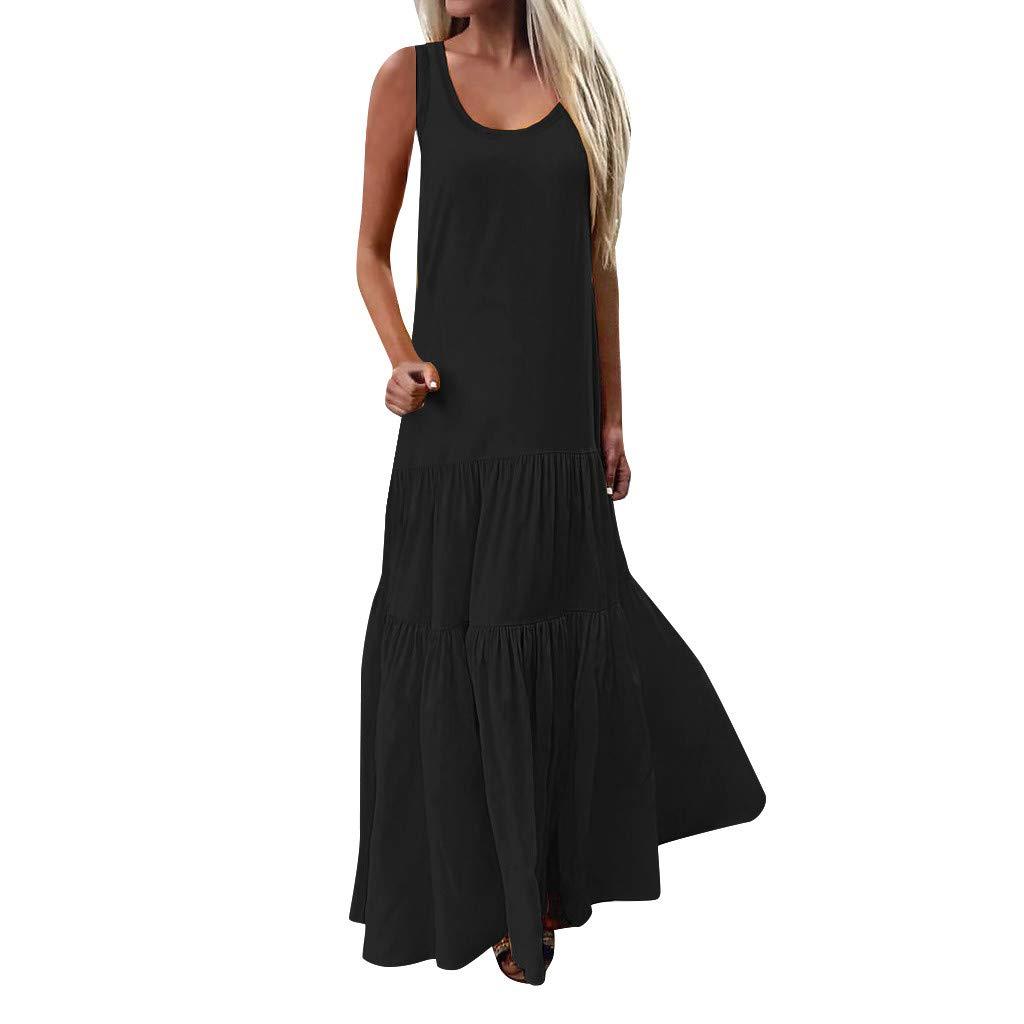 Huifa Women Sleeveless Low Cut Ruffles Dresses Solid Casual Baggy Long Bodycon (Black,L) by Huifa Women Dress