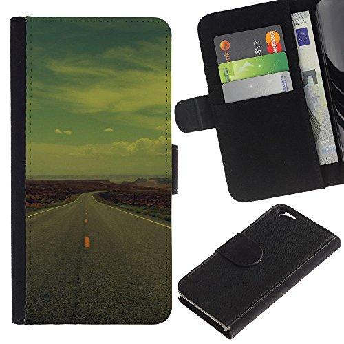 Funny Phone Case // Cuir Portefeuille Housse de protection Étui Leather Wallet Protective Case pour Apple Iphone 6 /Open Road USA/