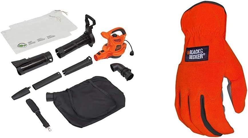 BLACK+DECKER 3-in-1 Electric Leaf Blower & Mulcher with Leaf Vacuum Kit, 12-Amp with Easy-Fit All Purpose Glove (BV6000 & BD505L)
