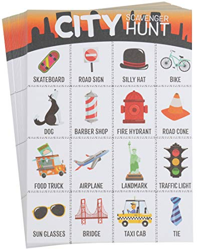 Kids Scavenger Hunt Cards - 50-Pack City Theme, Find up to 16 Items, Fun Outdoor Family Activity Game for All, Metro City Themed Party Favors, 5 x 7 Inches