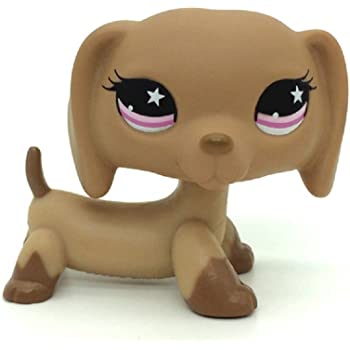 Littlest Pet Lps Toys 932 Brown Tan Dachshund Hot Dog Pink Star