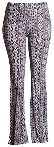 [Women's Stretch Bell Bottoms (Large, Paisley_0252)] (70s Ladies Fashion)