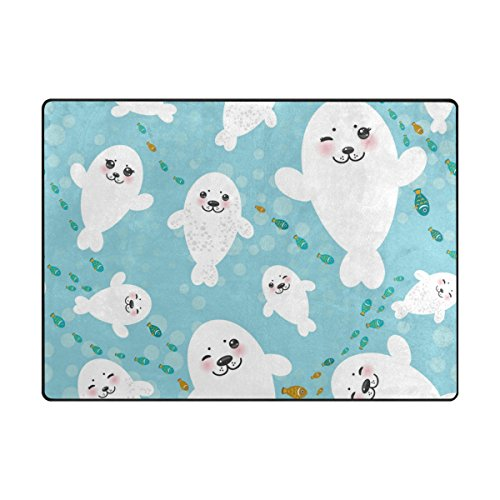 Vantaso Funny White Seal Pups Soft Foam Play Mat for Children Non Skid Game Area Rugs Kids Bedroom Playroom Nursery Decor 80 x 58 Inch by Vantaso