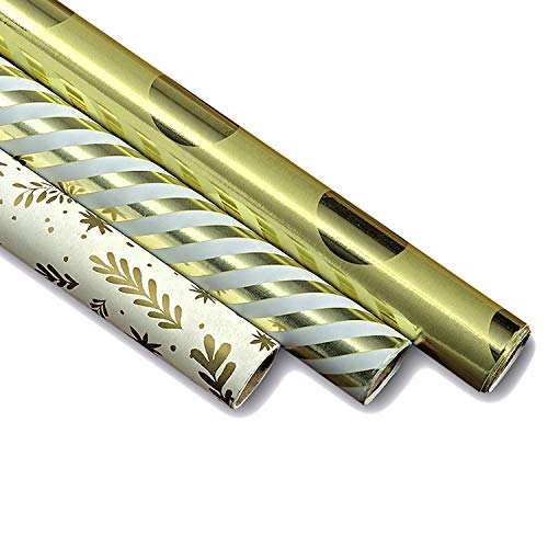 WHW Whole House Worlds Golden Gift Wrap Paper Rolls, Foil Patterns, 3 Pack Gift Wrapping Paper, 45 Sq Ft, Each Roll Over 6 Ft Long, Earth Friendly Inks ()