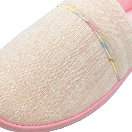 Le Donne Bestfur Comode Fodera In Velluto A Maglia In Cotone Antiscivolo Pantofole Casa Scarpe Rosa