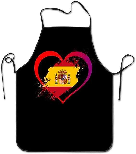 amiuhoun - Delantal de cocina con forma de corazón con diseño de bandera de España, para mujer y hombre: Amazon.es: Hogar