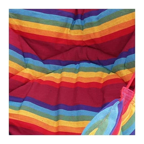 "NOVICA Rainbow Striped 1 Person Brazilian Cotton Hammock Swing Chair with Eucalyptus Wood Spreader Bar, Jungle Rainbow' (Single) - Size: 47"" H x 43"" W x 49"" D Authentic: an original NOVICA fair trade product in association with National Geographic. Certified: comes with an official NOVICA Story Card certifying quality & authenticity. - patio-furniture, patio, hammocks - 51L5zLTbcUL. SS570  -"