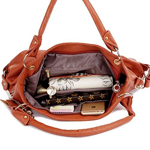 Cuero Capacidad Crossbody Mochila Pu Ladies Manera Suave Hombro De Brown La Gran Messenger Bag Bolso wfw1TqFp