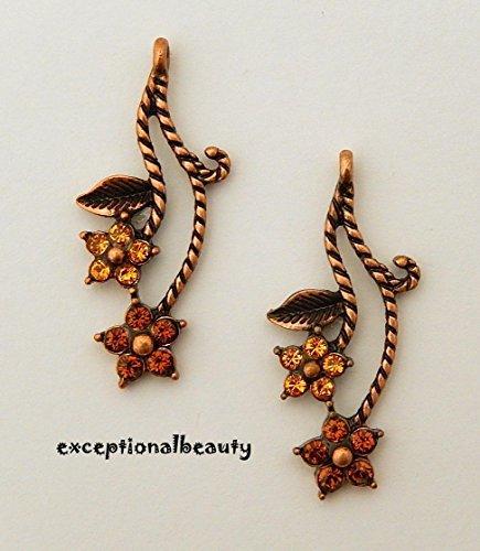 Create Your Style with Swarovski Elements Multi Flower Dangle Chandeliers Earrings
