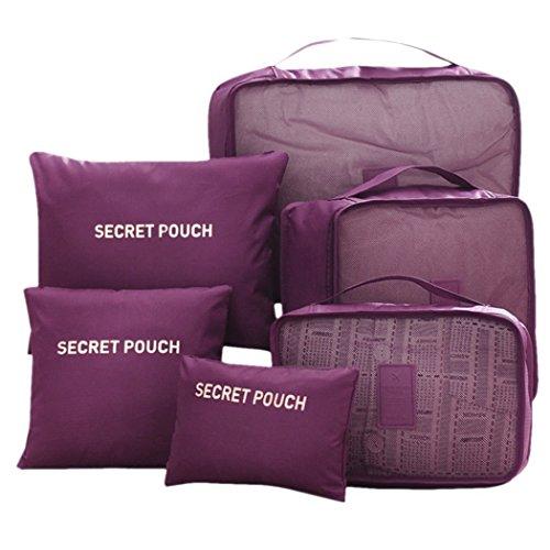 FunYoung Kleidertaschen-Set 6-teilig Reisetasche in Koffer Wäschebeutel Schuhbeutel Kosmetik Aufbewahrungstasche Farbwahl (Weinrot)