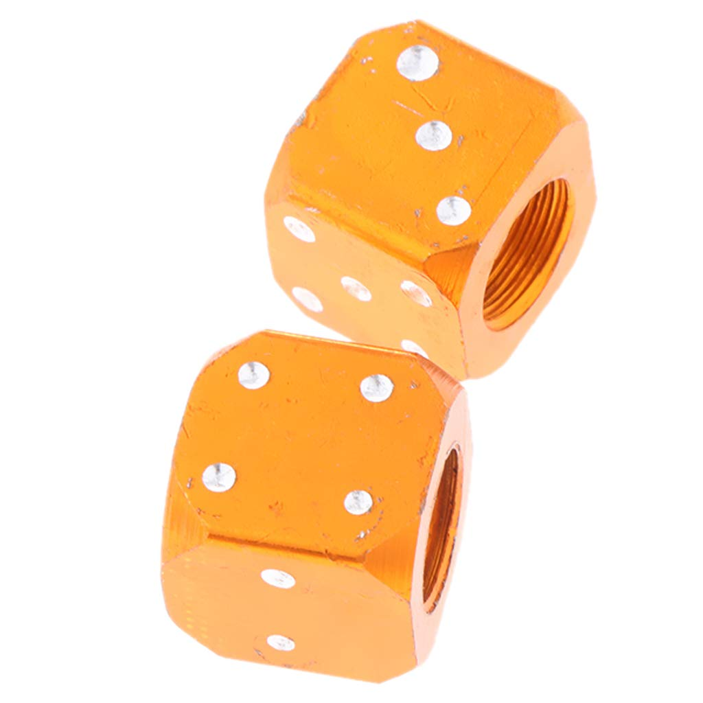 perfk 2pcs Bouchons de Valve dair de Pneu de Roue de V/éhicule Universal en Forme de D/és Orange
