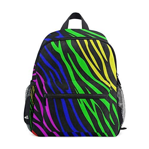 Rainbow Animal Zebra Print School Backpack For Boys