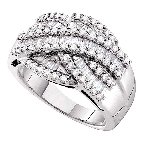 Jewels By Lux 14kt White Gold Womens Baguette Round Diamond Crossover Cocktail Band Ring 1.00 Cttw = 1 (I1-I2 clarity; H-I color) Ring Size 7