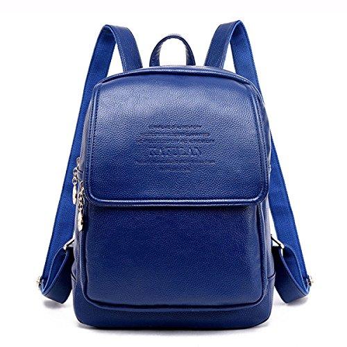 Mochila Para Mujer Mochila Informal Bolso Informal De Cuero Negro De La PU Mochila Escolar Con Forma Viaje Mochila Elegante Personalizada Azul
