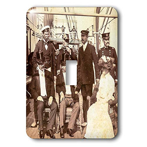 3dRose Scenes from the Past - Stereoview - President and Mrs. Roosevelt Aboard Mayflower Oyster Bay i1903 Vintage - Light Switch Covers - single toggle switch (lsp_300307_1) ()