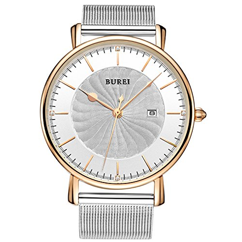 BUREI Unisex Ultra Thin Analog Watch with Rose Gold Bezel Date and Spiral Grain Dial Zircon Crystal