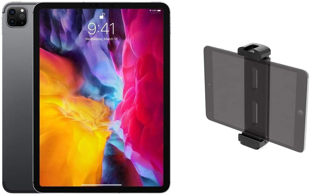 "Apple iPad Pro 11"", 128GB, Wi-Fi, iPadOS, Space Gray (Early 2020) - with Shape Aluminum Tablet Tripod Mount with Cold Shoe"
