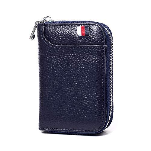Genuine Leather Credit Card Holder - Genuine Leather Credit Card Holder RFID Credit Card wallet(Blue)