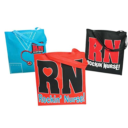 """Nonwoven Polyester """"Rockin' Nurse"""" Reusable Tote Bags - Great Gift For Nurses - Assorted Colors 1Dz."""