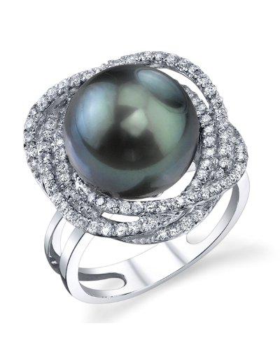 12mm Tahitian South Sea Cultured Pearl & Diamond Braided Ring in 18K Gold (Tahitian 18k Gold Pearl Ring)
