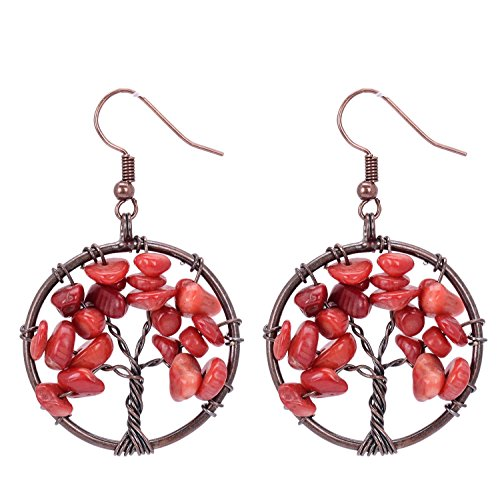Sedmart Tree of Life Pendant Earrings Chakra Wire Wrapped Wisdom Red Coral Jewelry (Tree Pendant Coral)