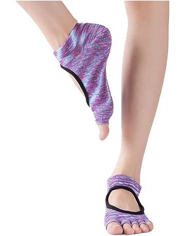 Shuzhen,Calcetines multicolores para mujer Calcetines de yoga sin respaldo Slip Punta abierta Dispensador de
