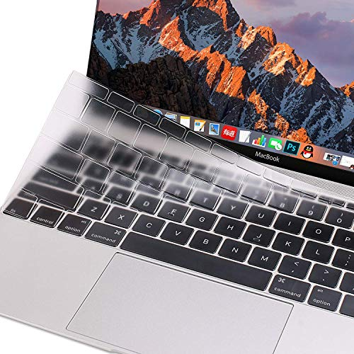 MOSISO Premium Soft TPU Ultra Thin Transparent Keyboard Cover Protector Compatible MacBook Pro 13 Inch 2017 & 2016 Release A1708 No Touch Bar MacBook 12 Inch A1534 Protective Skin, Clear