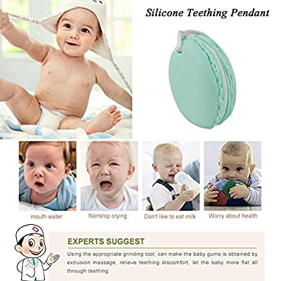 INCHANT Green Macaron Baby Silicone Teether - Non-Toxic, BPA, Latex and Phthalate Free Teething Toy - Soothing Pain Relie Sensory Chew Necklace for Kids, Toddler and Infant : Baby
