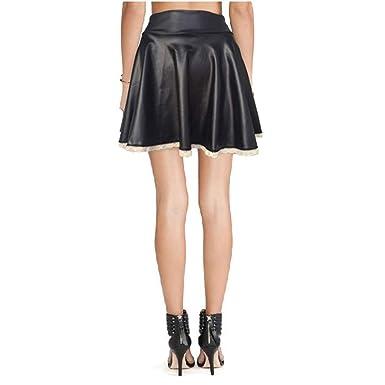Ucoolcc - Mini Falda Plisada de Piel sintética Sexy, Mini Falda de ...