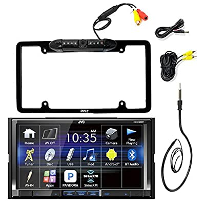 """JVC KW-V420BT 7"""" Inch Double DIN Car CD DVD USB Bluetooth Stereo Receiver Bundle Combo With Car License Plate Frame Rear View Colored Backup Parking Camera, Enrock 22"""" AM/FM Radio Antenna"""