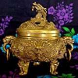 6'' Bronze Chinese 9 Dragons Incense Burner
