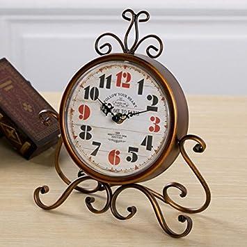 LTOOD Los países americanos Vintage Reloj silencio de hierro Estilo Europeo salón dormitorio estudio reloj de cuarzo relojes decorativos,simplificado ...